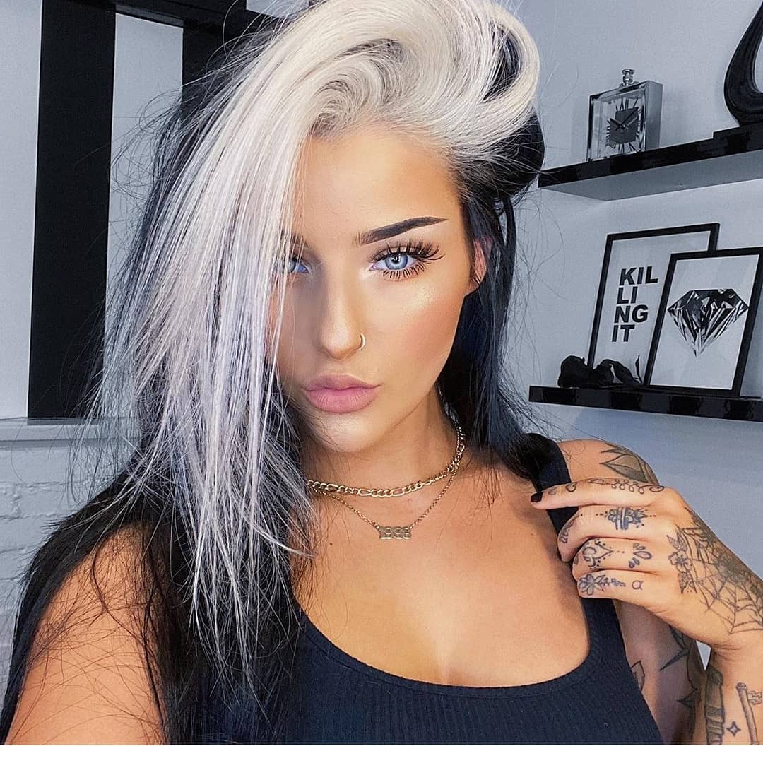 Icy Blonde & Black Hair Color Ideas - Girl with Tattoo