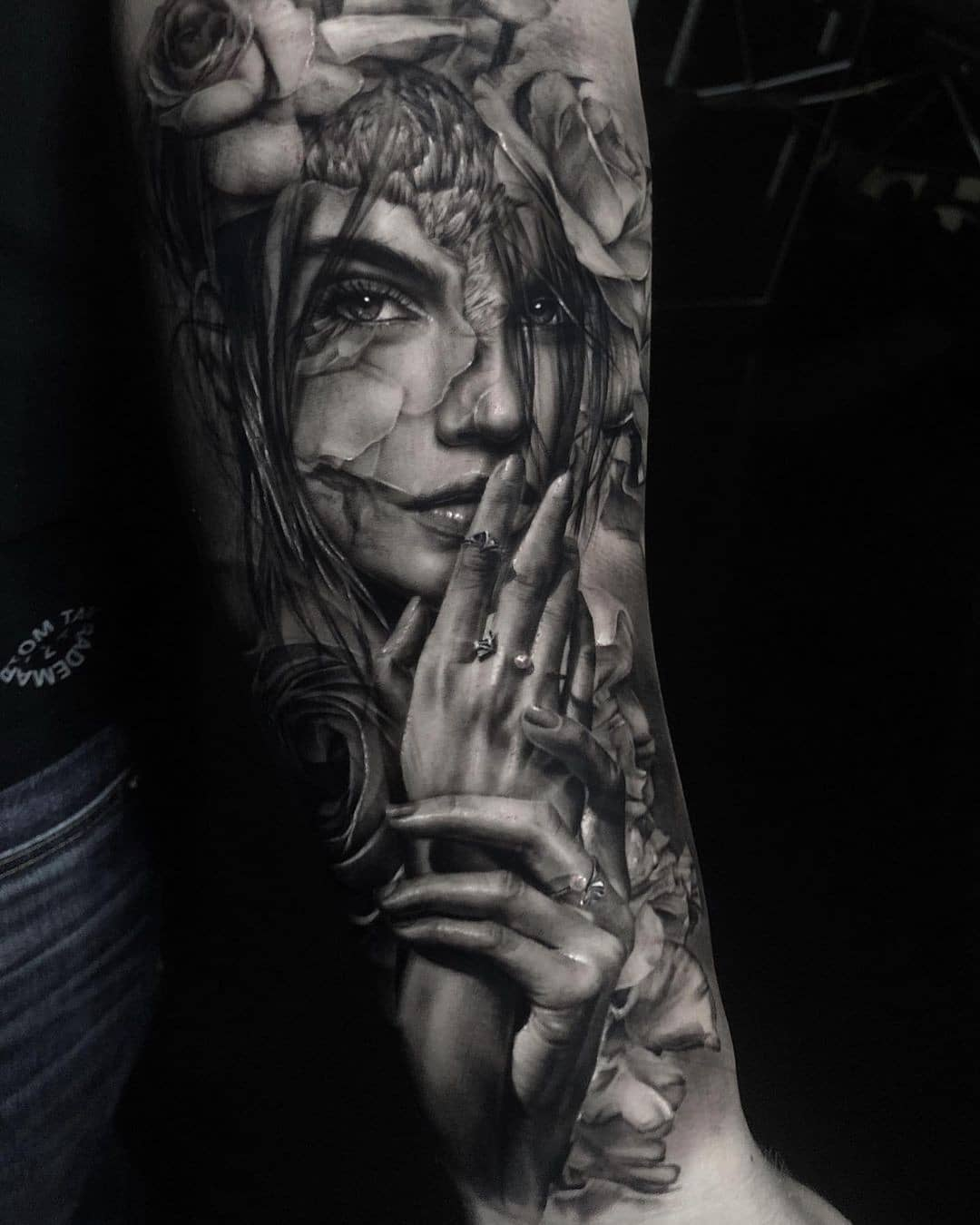 Girl shoulder tattoo - realism style