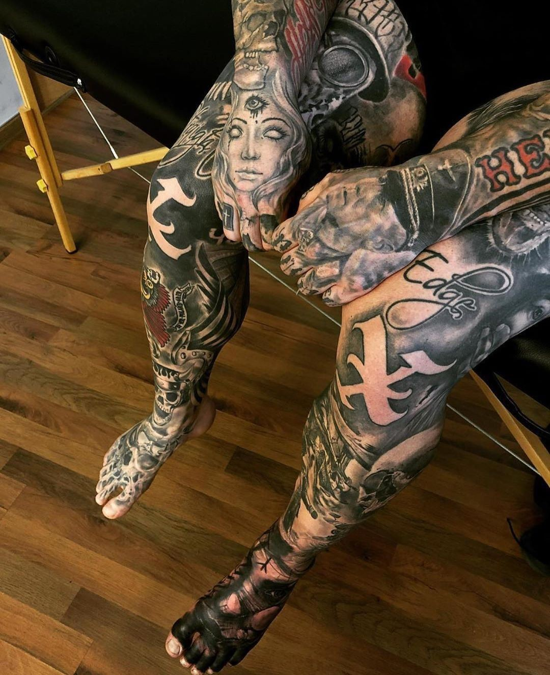 all parts of the body are filled with ink, arms and legs - would you get such tattoos for yourself?
