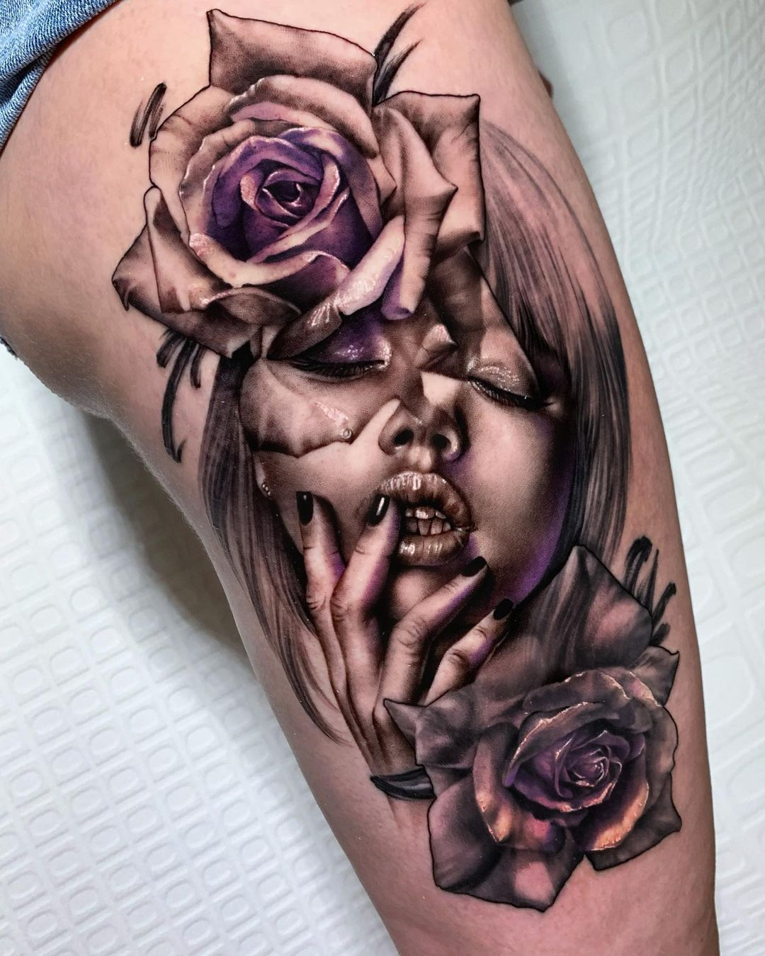 Thigh tattoo - girl with roses tattoo