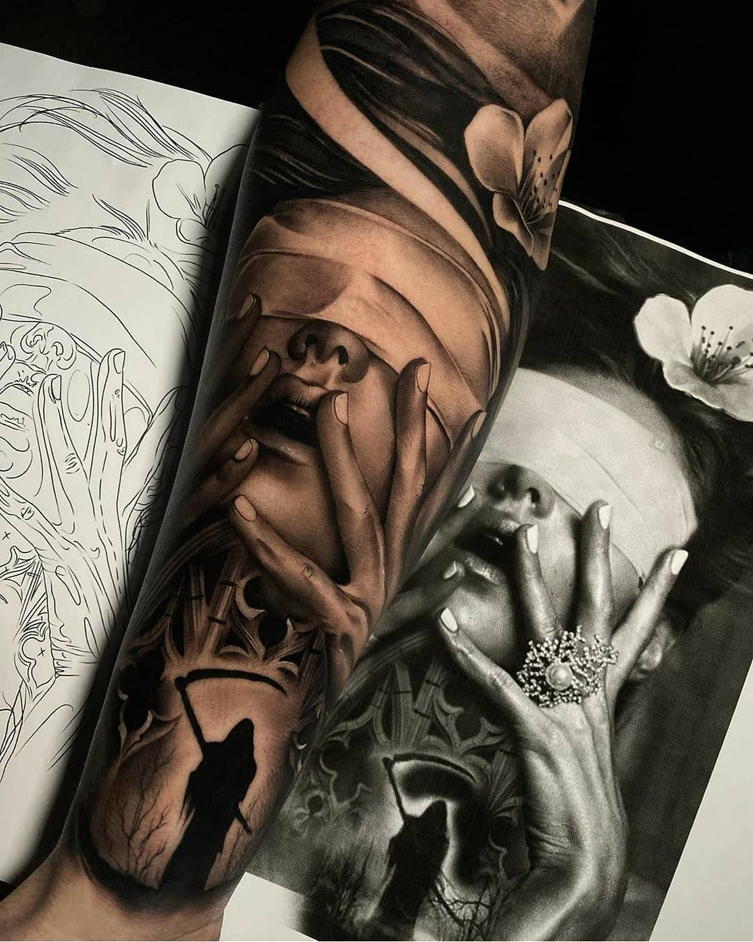 Beautiful tattoo of a girl on a sketch background - realism style