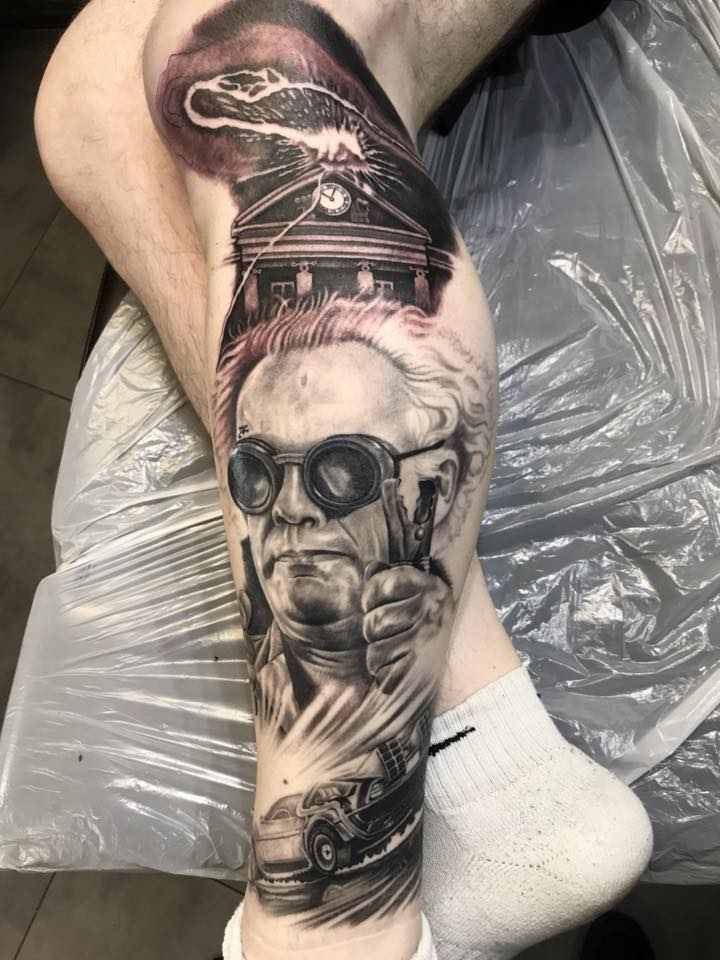 Crazy Professor Doc Brown Tattoo - Back to The Future