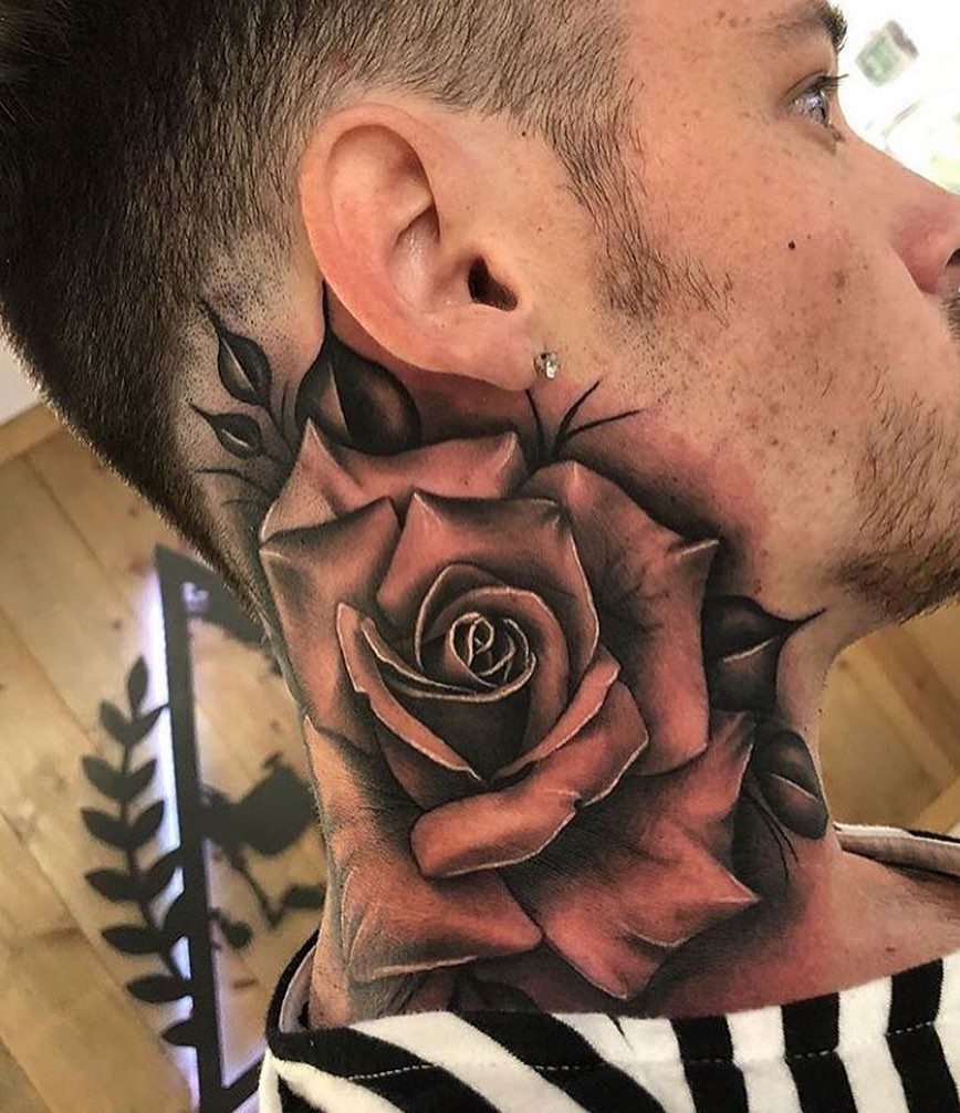 Rose Tattoo On Guy Neck