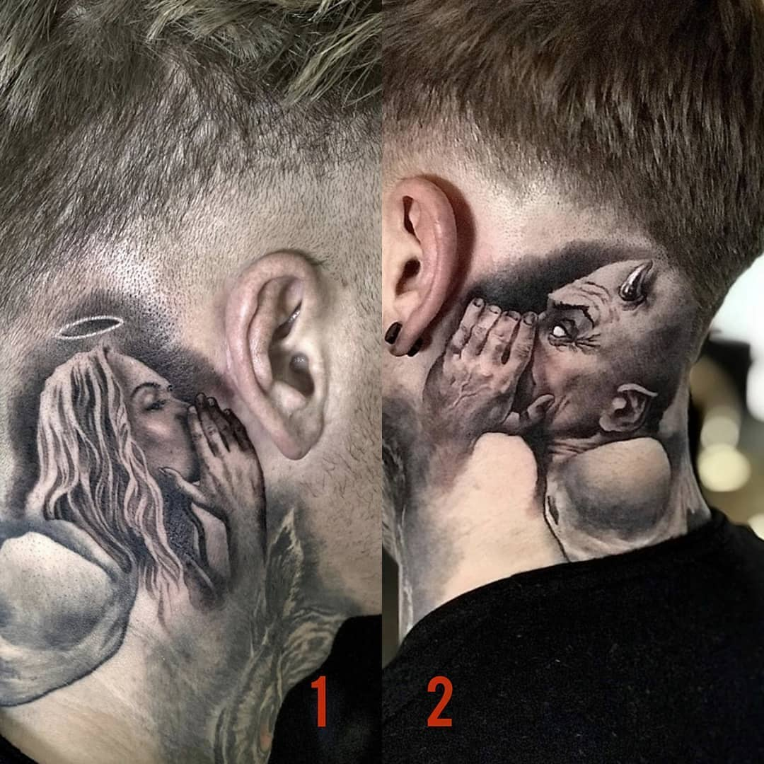 An angel and a demon, a tattoo on the guy's neck, on the left and right sides, whispering in his ear, everything is like in cartoons about a demon on one side and an angel on the other!