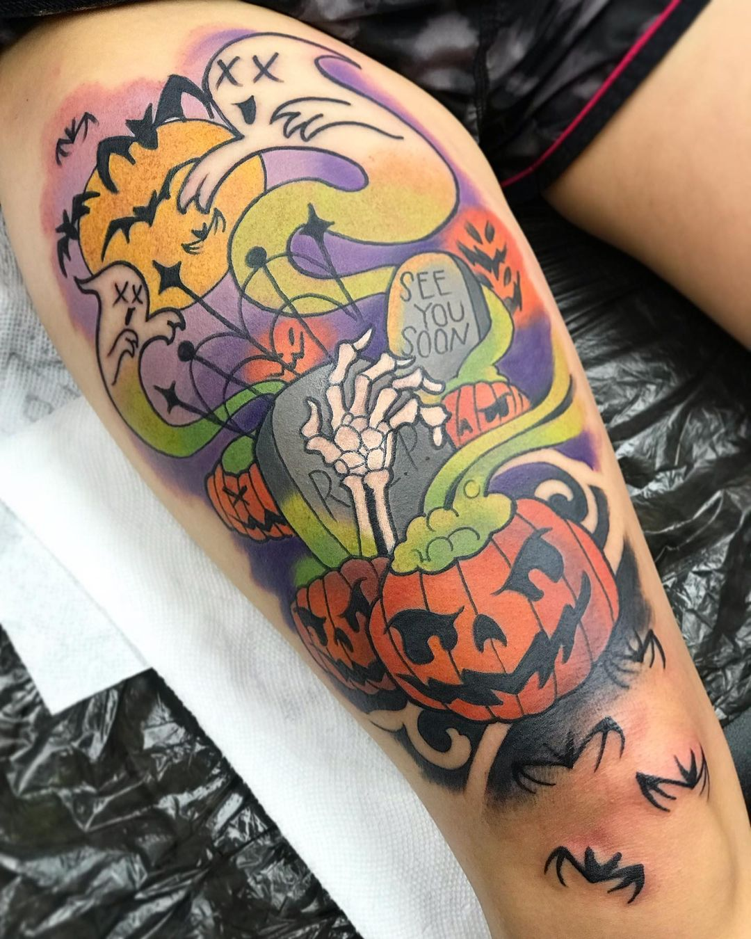 Great Halloween themed tattoo especially if it's your birthday that day!