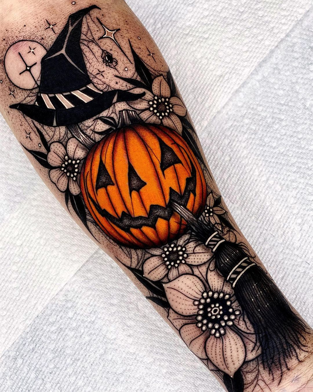 A beautiful sleeve with elements of a classic style for Halloween Pumpkins and other attributes of the holiday of all saints