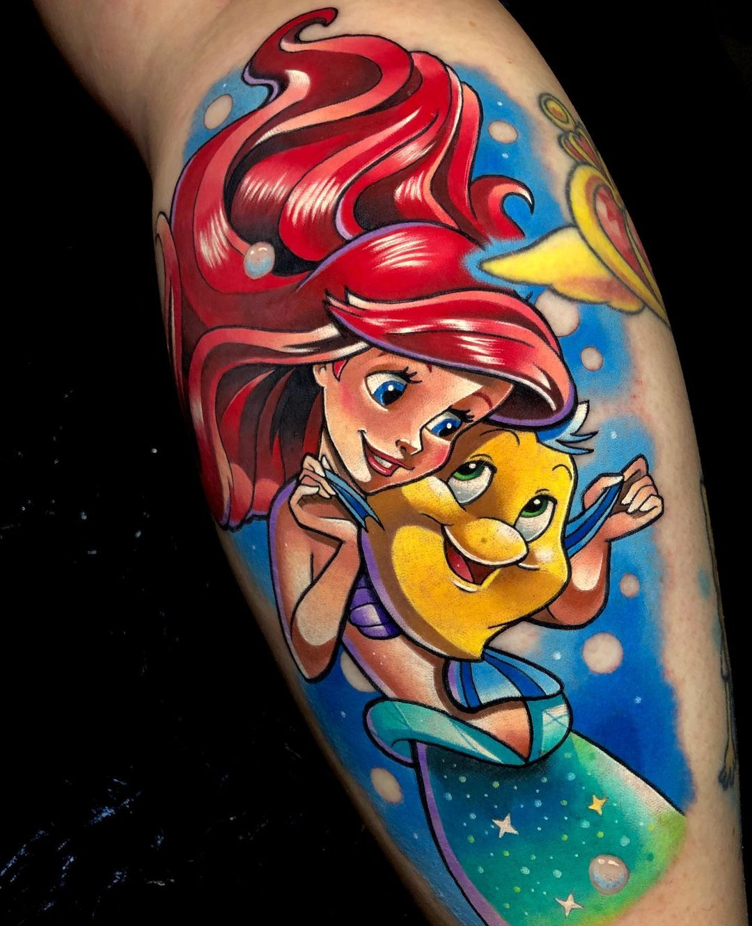 Tattoo sleeves in the style of Disney cartoon - the little mermaid