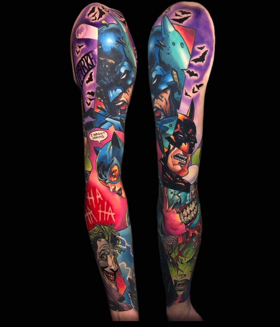 Super collection of super heroes from the movie batman - mean tattoo sleeves