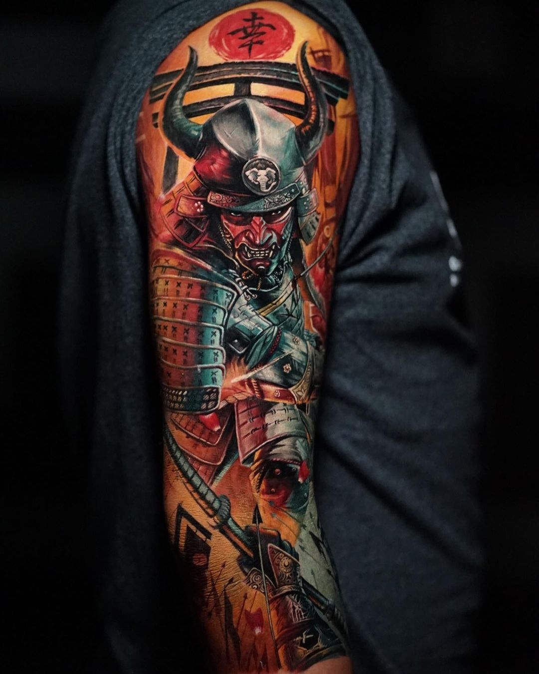 Color sketch of tattoo in Japanese style - samurai