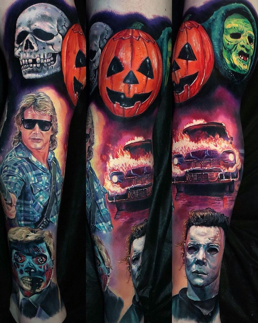 Halloween and horror sleeve tattoo designs