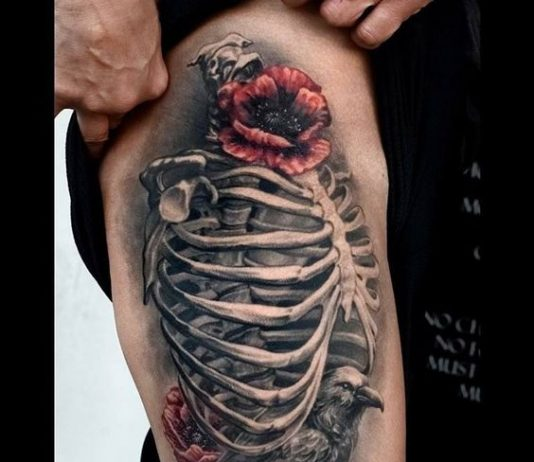 tattoo on the thigh in the form of a skeletontattoo on the thigh in the form of a skeleton